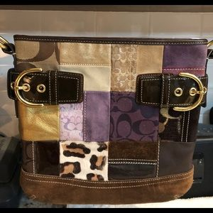 Coach vintage leather and suede patch purse